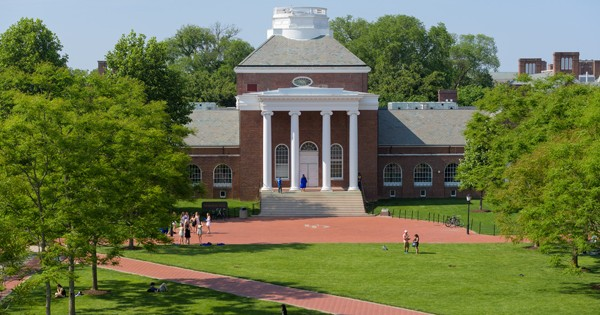 Memorial Hall with The Green in front of image, before Commencement on 052516
