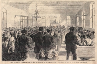 A sketch depicts the 1869 National Colored Convention in Washington, D.C., one of hundreds of 19th century African American organizing efforts.