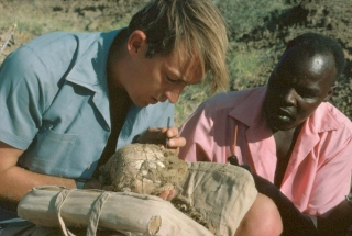 Kamoya Kimeu (right), considered one of the greatest fossil hunters of all time, worked for many years with paleoanthropologist Richard Leakey (left) and Leakey's wife, Meave, also a paleoanthropologist. Kimeu got his start with Leakey's world-renowned parents, Louis and Mary Leakey.
