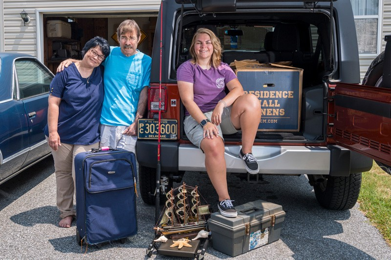 Left to right, Lynn, Dale and Ashley Hangstefer have been preparing for Ashley to move from their family home in Milford to Newark to begin her first year as a student at the University of Delaware.