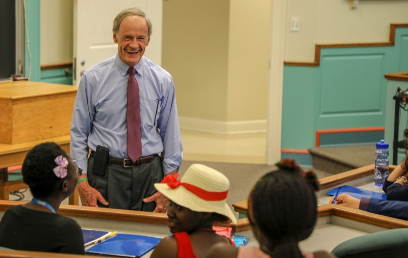 Delaware U.S. Senator Tom Carper spoke to participants in the University of Delaware's Study of the U.S. Institute (SUSI) for Student Leaders on Women's Leadership and Middle East Partnership Initiative (MEPI) Student Leaders Program.