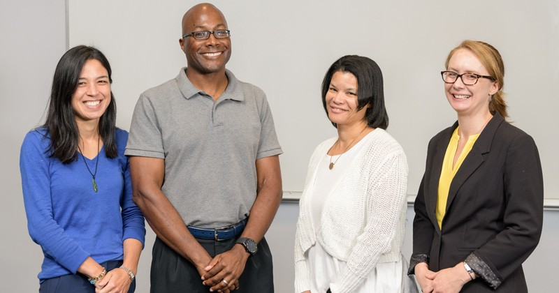 UD professors Millie Sullivan, Thomas H. Epps, III, LaShanda Korley, and April Kloxin were mentors at a workshop for future faculty members.