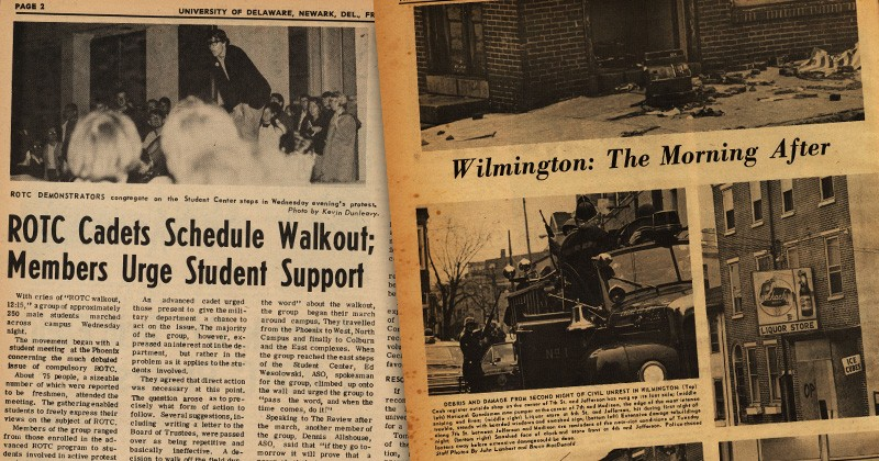Headlines from UD student newspaper, The Review, in 1968 highlight the turmoil across Delaware and the University.