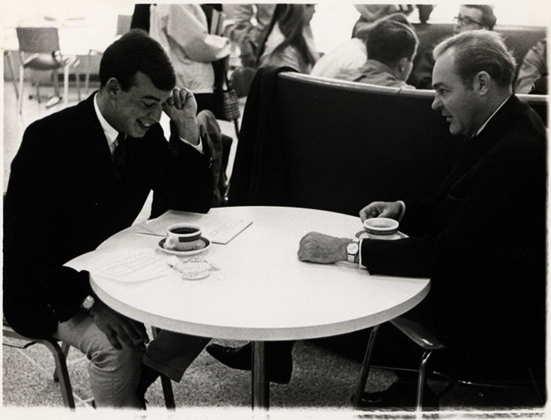 Sean Mullen (left), who was the editor of the UD student newspaper The Review, in 1968 interviewing Eugene McCarthy during his campaign for president.
