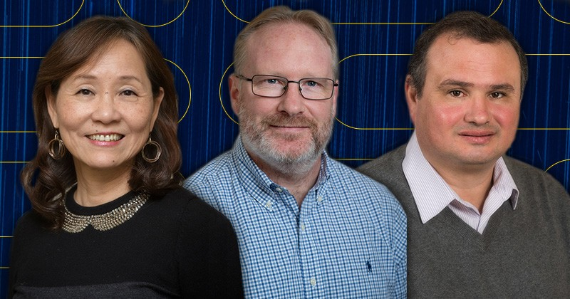 Three UD engineering professors have been named to this year's list of Clarivate Analytics list of Highly Cited Researchers. From left to right, Cathy Wu, Craig Brown and Anderson Janotti are pictured.