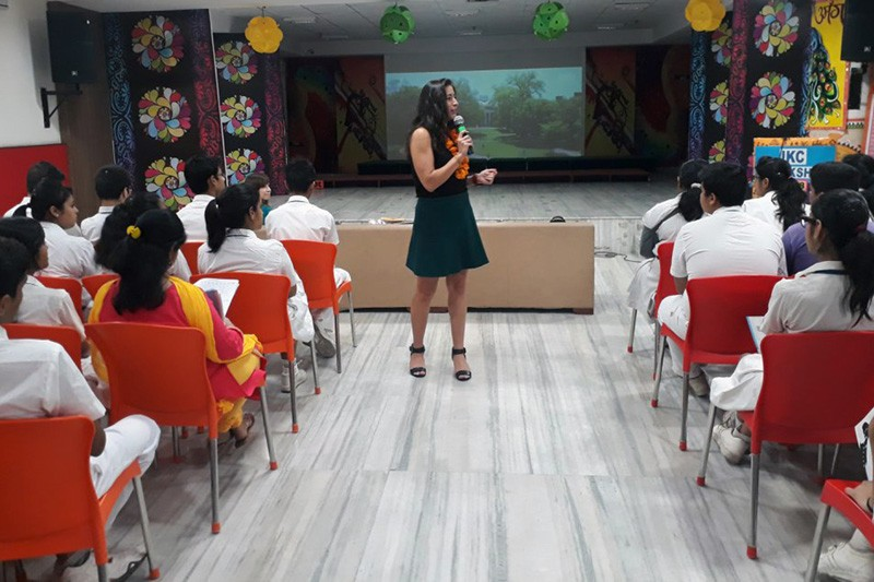 Renee Koerner, UD assistant director of international admissions, speaks to student in India, which represents a sizeable portion of the University's international population.