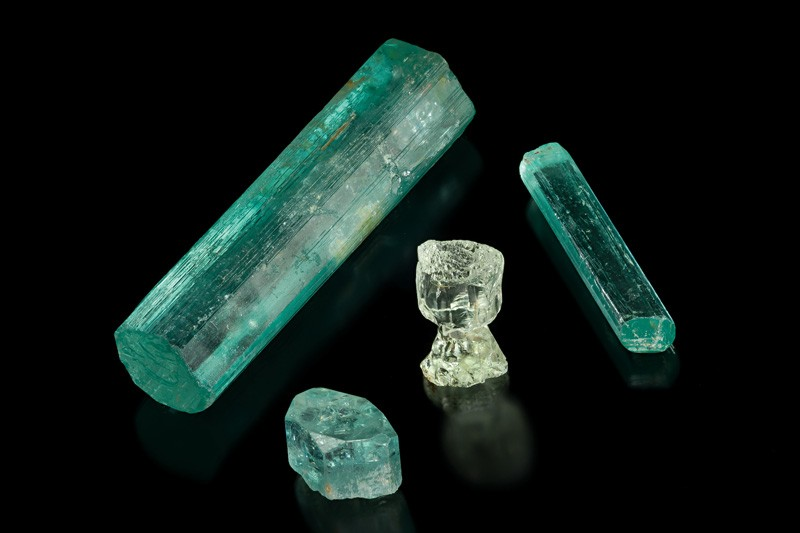 Beryl (aquamarine), Marambaia Mine, Minas Gerais, Brazil. Largest is 14.6 cm and they were the best that were discovered in 1921.