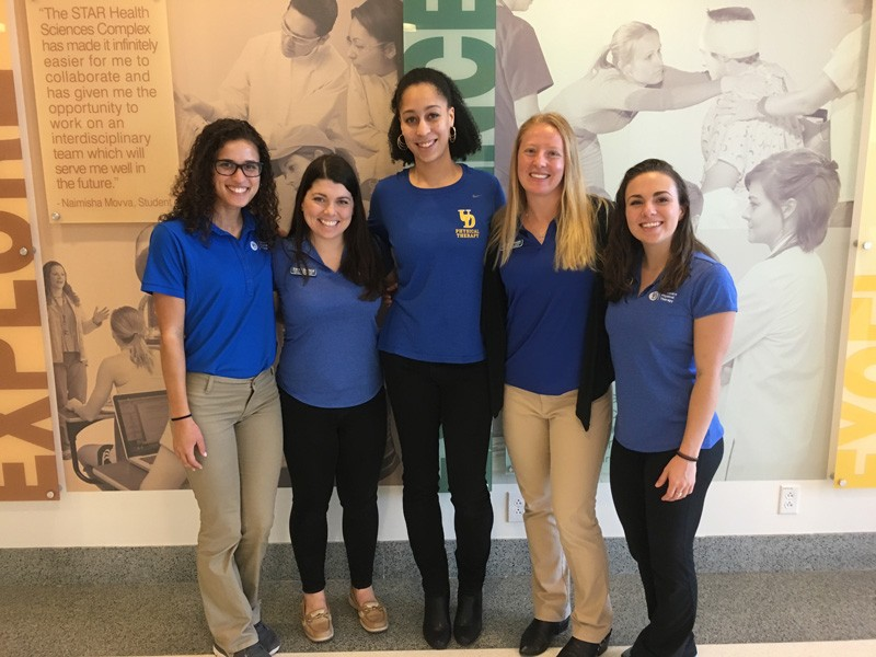 From left to right: Physical therapy graduate students Taylor Mayweather, Sarah Garland, Jazmine Tooles (Class of 2013), Jordan Denesik, and Erika Clary