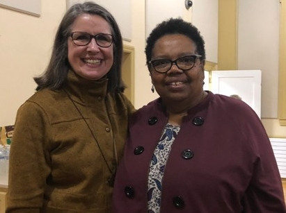 Cami Seward (left) and Florine Henderson at Monday's MLK Day event at the Newark United Methodist Church