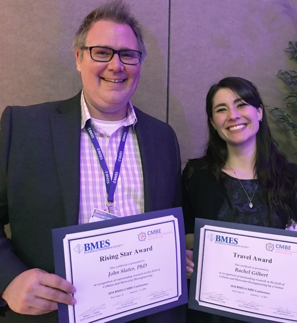John Slater and Rachel Gilbert were recognized at the Biomedical Engineering Society (BMES) Cellular and Molecular Bioengineering (CMBE) conference.