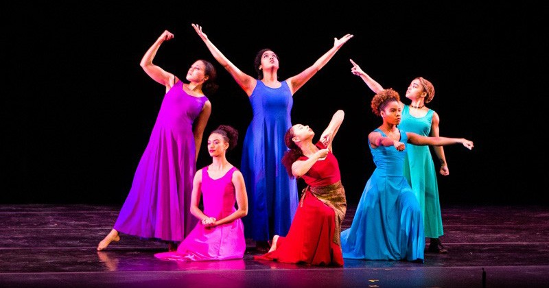 """Women of Consequence"" dancers (from left) Rachel DeLauder, Melissa Jones, Dianna Ruberto, April Singleton, Amber Rance and Ikira Peace perform in March at the Baby Grand Theatre in Wilmington for the launch of UD's Partnership for Arts and Culture."