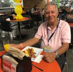 Francis Manno, Class of 1973 enjoys brunch at Alumni Weekend.