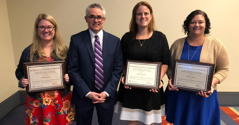 Amanda Jansen and her coauthors with outgoing NCTM president, Matt Larson. From left to right: Amanda Jansen, Matt Larson, Stefanie Vascellaro, and Brandy Cooper. Not pictured: Phil Wandless.