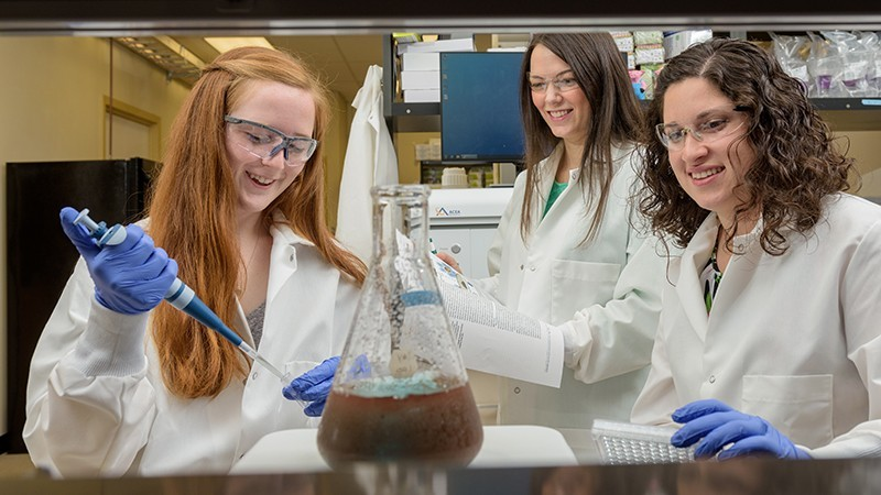 From left, Margaret Billingsley, Emily Day, and Rachel Riley are shown working on one of their previous research studies, this one on cancer detection.