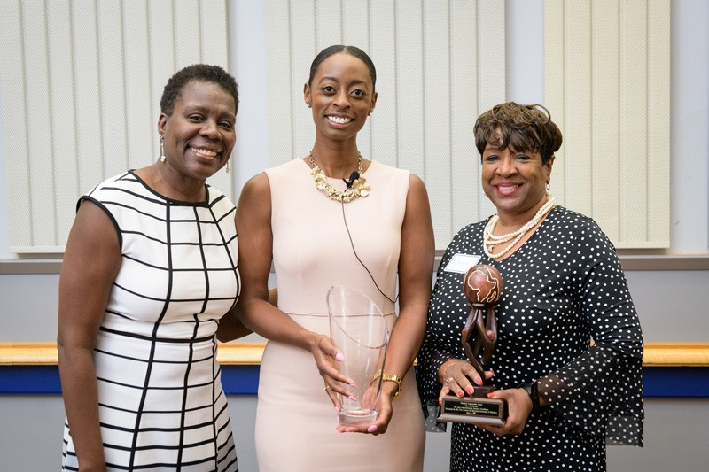 Carol Henderson (left), vice provost for diversity and Jennifer Daniels (center), associate director in the Office of Equity and Inclusion join Joyce Henderson, assistant director for employer partnerships in the Career Services Center and winner of the University of Delaware's Diversity Ambassador Award.
