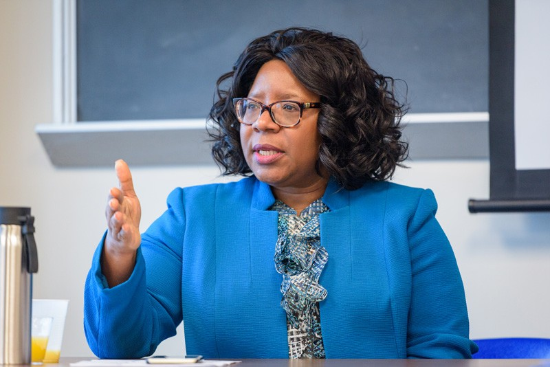 CEOE Dean Estella Atekwana discusses her passion for science with students in the Society of Women in Marine Science at UD's Hugh R. Sharp campus in Lewes.