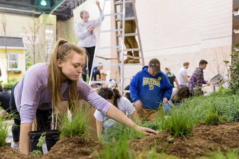 UD students build their display at the Philadelphia Flower Show, which begins Saturday, March 3 at the Pennsylvania Convention Center.