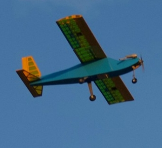 The radio-controlled plane is sent aloft by UD engineering students, who designed and built the aircraft for their Senior Design project.