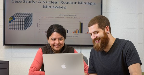 Sunita Chandrasekaran, an assistant professor in computer and information sciences at the University of Delaware, and Robert Searles, a doctoral student in computer science, have modified a miniapp using OpenACC.