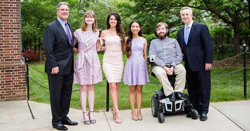 Donor David Plastino (far left)  and UD President Dennis Assanis (far right) with 2018 Plastino Scholars (left to right) Olivia Mann, Drew Sanclemente, Mickey Nguyen and Daniel Schaefer.