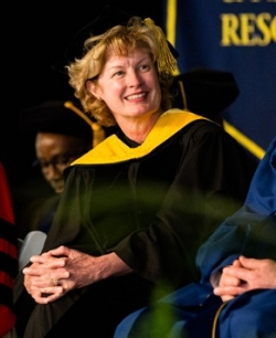 Provost Robin Morgan at UD's Doctoral Hooding Convocation on The Green
