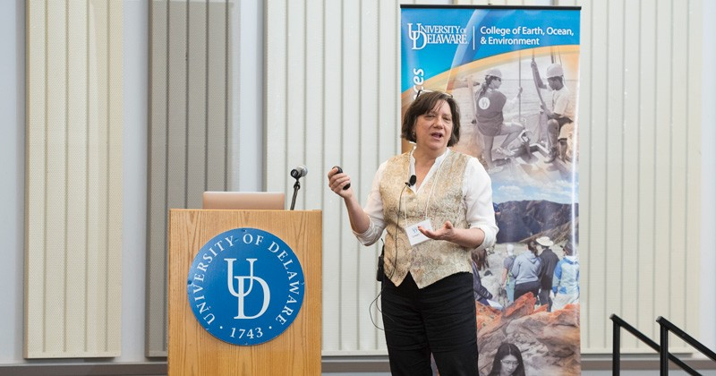 Alumna Susan Trumbore receives a warm welcome back to University of Delaware.