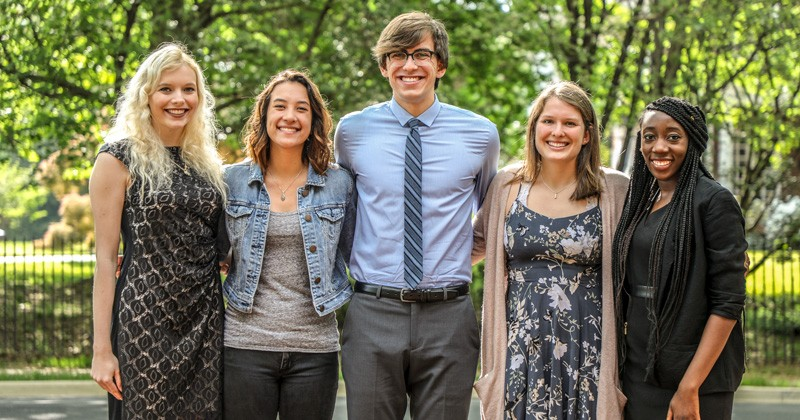 UD's newest Fulbright Award winners, pictured left to right: Amanda Abrom, Jennifer Hoi-Ping Lawrence, Rickey Egan, Taylor Tewksbury and Gerti Wilson. Not pictured are Melanie Allen, Briyana Chisholm, Sarah Hartman and Klodiana Kastrati.