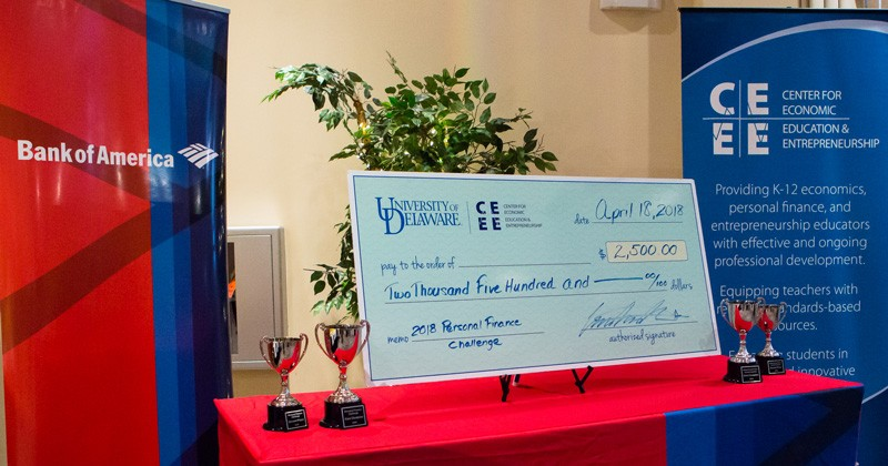 The Center for Economic Education and Entrepreneurship (CEEE) at the University of Delaware's Alfred Lerner College of Business and Economics joined with Bank of America to host the Delaware Personal Finance Challenge, a competition for students in the state.
