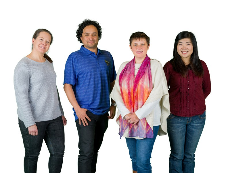 "The UD research team members, all co-authors of the new paper, include (from left) NMR spectroscopist Caitlin M. Quinn, faculty members Juan Perilla and Tatyana Polenova and doctoral student Mingzhang ""Maple"" Wang, who earned her doctorate in chemistry this year."