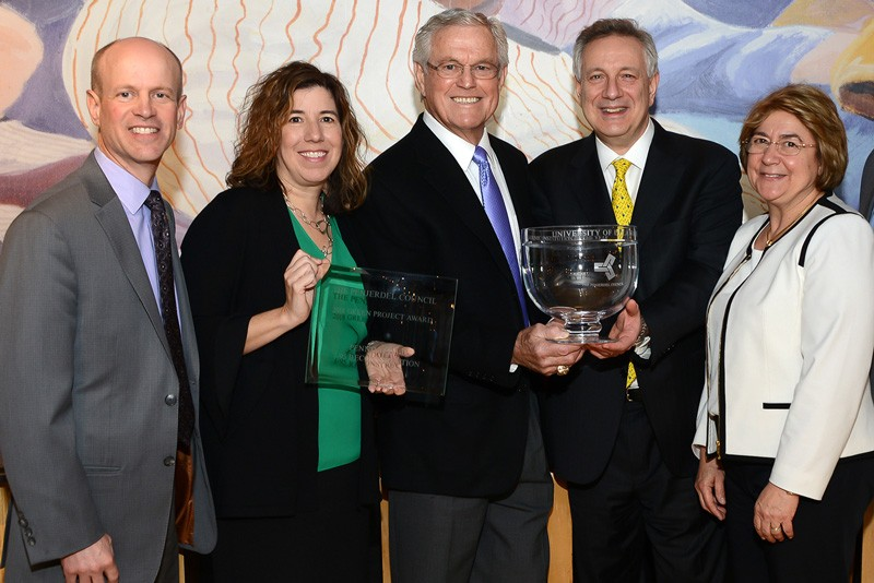 The PENJERDEL Council recently recognized UD and others at its 63rd annual awards ceremony in Philadelphia. Pictured from left to right are PENJERDEL Council Chairman Matt Marquardt, Pennsylvania Department of Transportation Secretary Leslie Richards, former NFL coach Dick Vermeil, UD President Dennis Assanis and Eleni Assanis.
