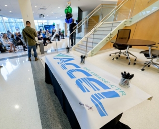 A ceremony in the atrium of UD's  Science, Technology and Advanced Research (STAR) Campus celebrated a five-year $25 million renewal of the Delaware Center for Translational Research ACCEL Program, which is funded by the National Institutes of Health (NIH) and the State of Delaware.