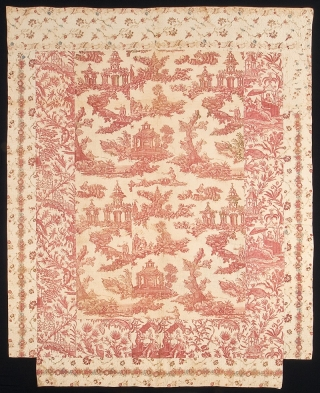 This printed linen textile, from a bequest of Henry Francis du Pont to the Winterthur Museum collection, was made in England at the Bromley Hall Print Works around 1760-1780 and shows the influence of Asian art.