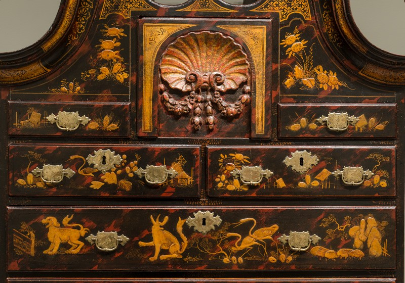 Asian aesthetic influences can be seen in this detail of a high chest of drawers, from a bequest of Henry Francis du Pont to the Winterthur Museum collection, that was manufactured by John Pimm in Boston around 1740-1750.