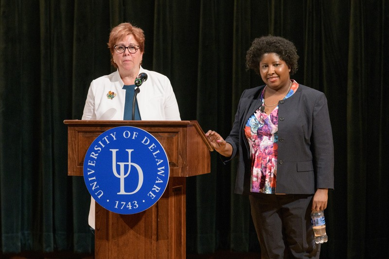 Beth Mineo (left), director of UD's Center for Disabilities Studies, introduces Stanford Law Professor Rabia Belt, who addressed contemporary voting rights controversies involving people with disabilities on the occasion of the center's 25-year anniversary.