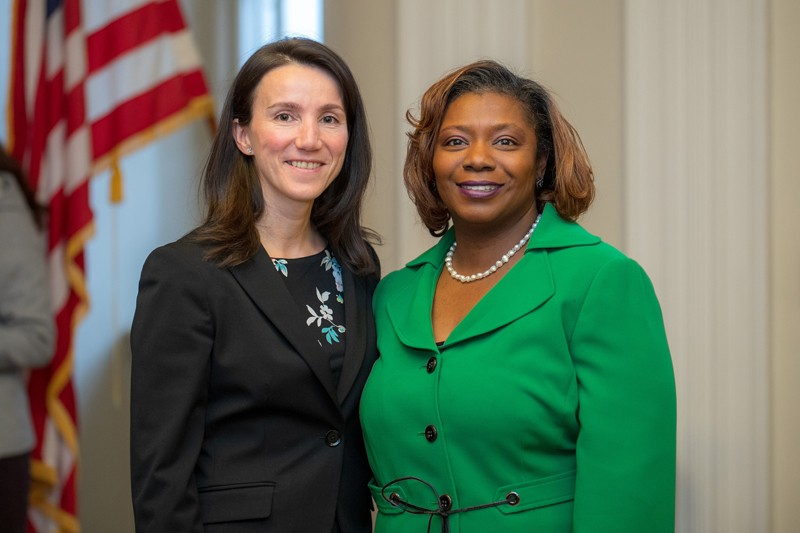 Co-winners of the 2018 Louis L. Redding Award, Ramona Neunuebel, assistant professor of biological sciences at UD (left) and Camille Sims-Johnson, director of UD's Upward Bound Math/Science program (right).