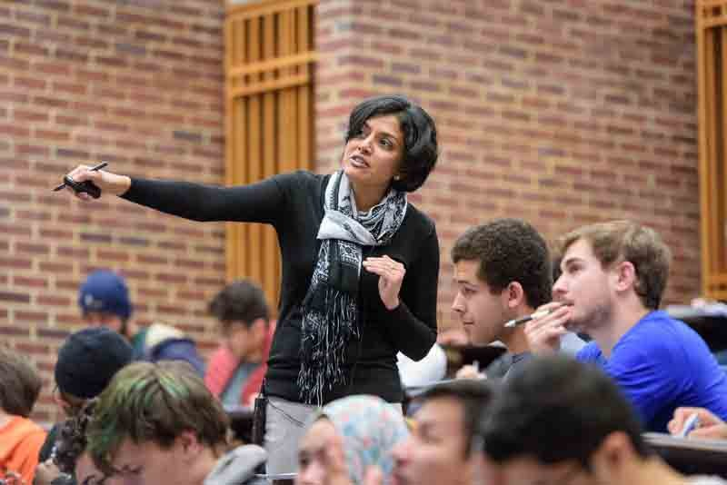 Arthi Jayaraman, a UD associate professor, points toward the board while discussing the material with students in her Introduction to Chemical Engineering class.