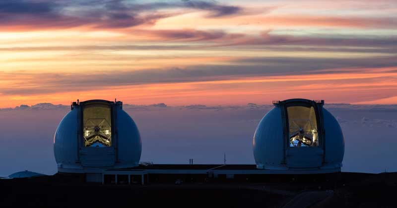 Twin telescopes at the W.M. Keck Observatory in Hawaii