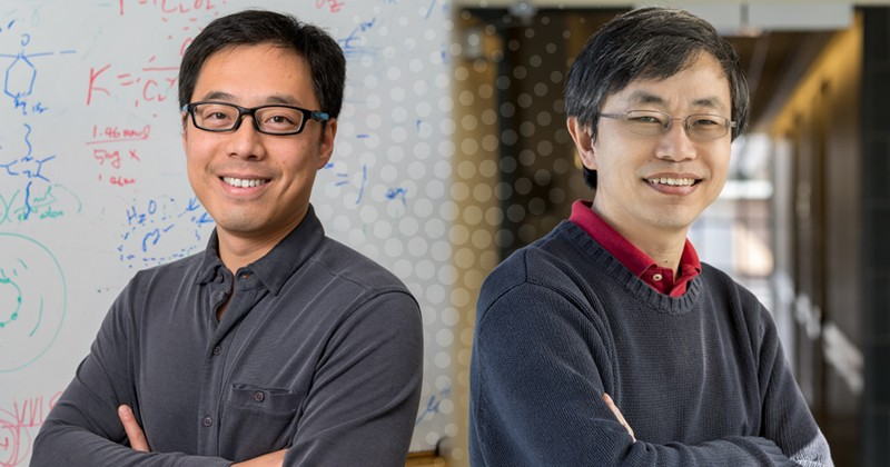 Faculty members Bingjun Xu, left, and Yushan Yan are corresponding authors on a new paper in Nature Energy.