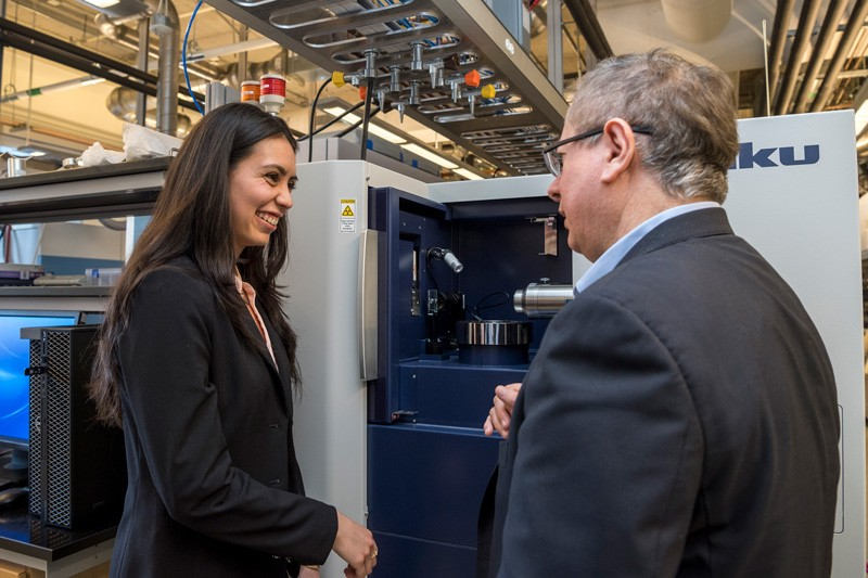 UD doctoral student Angela Cuadros, discusses how she plans to use UD's 3D X-ray imaging system with Gonzalo Arce, her advisor and Charles Black Evans Professor of Electrical Engineering.