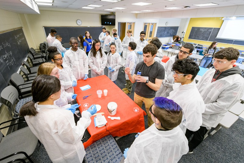 REACH, advised by Joshua Enszer, associate professor of chemical and biomolecular engineering, and Megan Argoe, academic advisor for chemical and biomolecular engineering, hosted its first Engineering Day for 21 high school students at the UD's Newark campus on March 9, 2019.