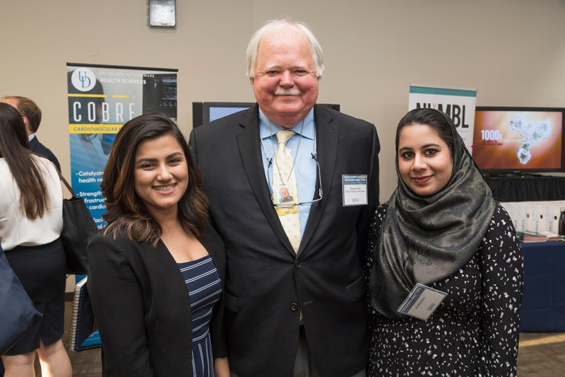 Senior Fellow Ed Freel (center) of the University of Delaware's Institute for Public Administration met with students who had been part of UD's Spring Semester In D.C. program, including Sanika Salim (left), now executive assistant to the chief of staff in the office of U.S. Senator Tom Carper, and Areeba Khan, an intern in the office of U.S. Senator Chris Coons.