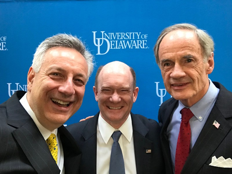 "University of Delaware President Dennis Assanis takes a quick ""selfie"" with Delaware's U.S. Senators — Chris Coons (center) and Tom Carper (right) during the fifth ""UD Day in D.C."" event on Capitol Hill."