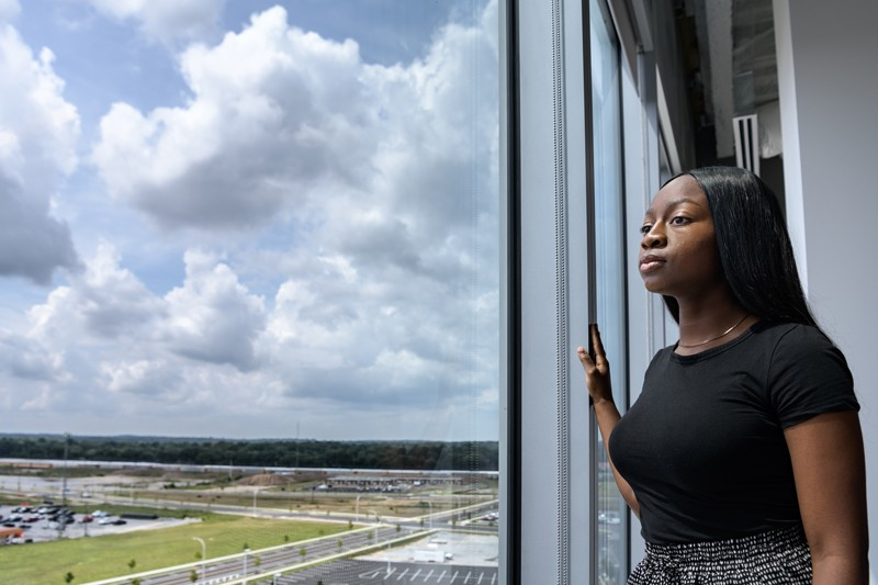 At the University of Delaware's STAR Campus, Nkeiruka Ashiedu examines data on particulate matter levels and their correlation to emergency hospitalizations for asthma.