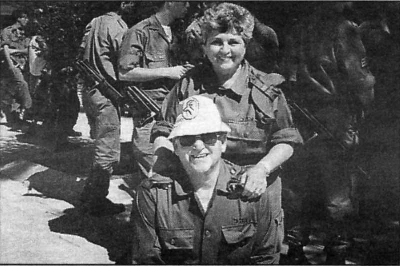 Photo of Faith and her husband Lou, when they volunteered for the Israeli army.