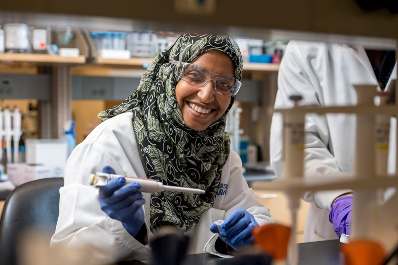 UD doctoral student Salma Al Saai conducts genetic research on the cause of congenital cataracts.