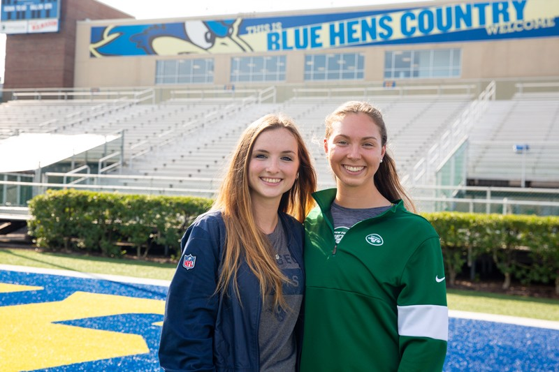 UD athletic training seniors Erin Finley (left) and Jordan Del Bianco were interns with National Football League teams during the summer of 2019. Finley spent the summer working with the Los Angeles Rams while Del Bianco interned with the New York Jets.