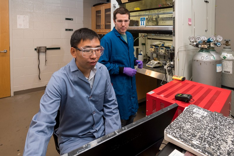 University of Delaware Professor Feng Jiao, left, graduate student Matthew Jouny, right, and postdoctoral fellow Gregory S. Hutchings (not pictured) are pushing the field of carbon monoxide electroreduction technology forward.