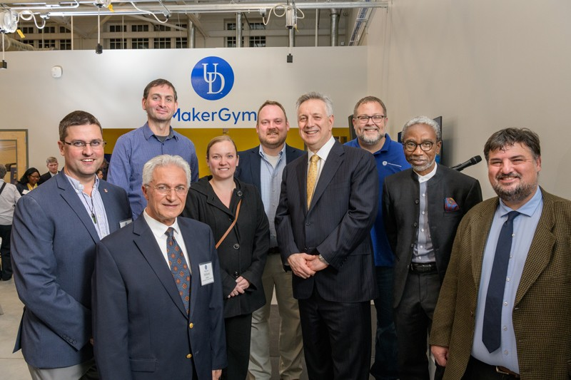 The Maker Initiative team includes, from left, its faculty director, Mohsen Badiey, Art Trembanis, Ashley Pigford, Jordan Jakubowski, Brooks Twilley, UD President Dennis Assanis, Dan Freeman, Babatunde Ogunnaike and Mark Mirotznik.