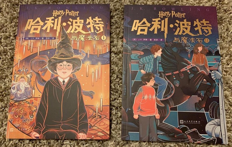 Sean McAllister collects unique cover art variants across the entire series. The new official publication of Harry Potter and the Philosopher's Stone in Chinese comes in two volumes with new artwork for each.