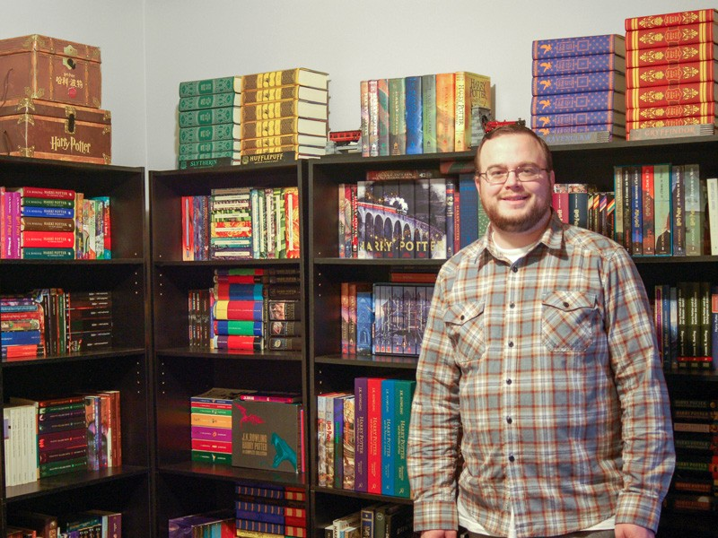 Sean McAllister, a microbiologist who earned his doctorate from UD in spring 2019, has an extensive multilingual collection of Harry Potter books. His collection consists of authorized translations of Harry Potter and the Philosopher's Stone — one of the most translated books in history — and unique cover art across the entire series.